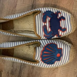 Tory Burch Crab Striped Espadrille Size 9